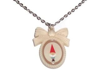 Gnome Necklace, Kawaii Cream Cameo Necklace