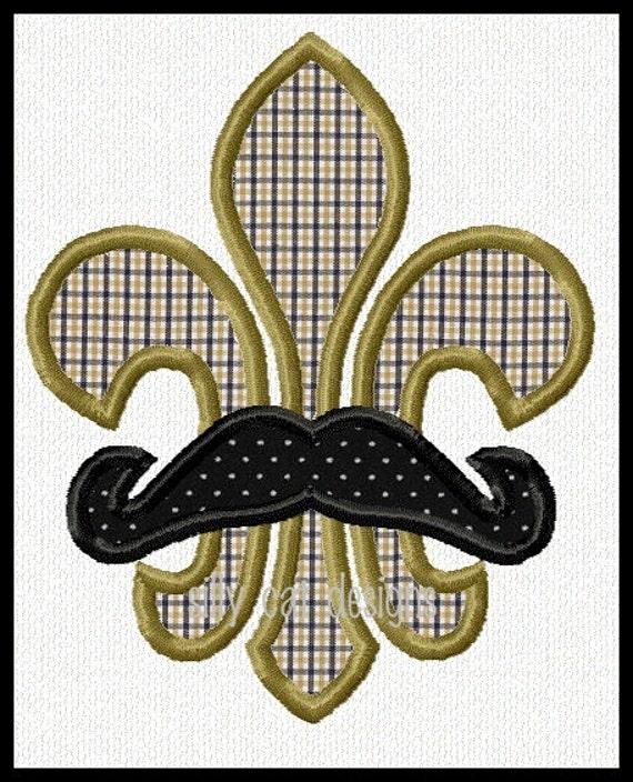 Mustache Fleur De Lis Applique Machine Embroidery Design