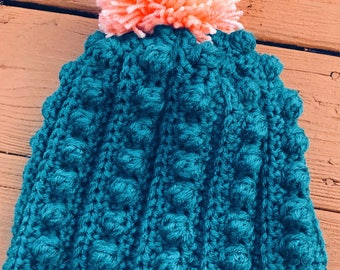 Adult sized Bobble Stitch Beanie
