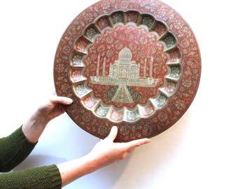 Vintage Taj Mahal Brass Tray