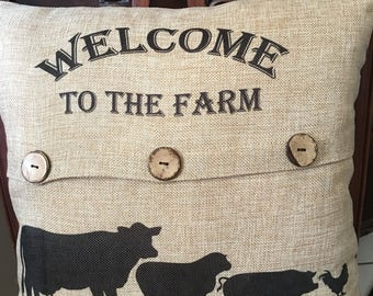 Pillow Cover, Farmhouse Pillow COVER, Cow Pillow Cover, Burlap Look Pillow, Farm Animal Pillow, Rustic Pillow Cover FREE SHIPPING