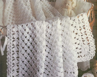 Crochet baby blanket etsy instant pdf download vintage crochet pattern to make a lacy heirloom baby christening shawl or blanket dt1010fo