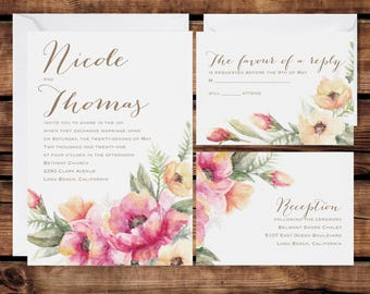 Floral Wedding Invitation Set, Personalized Wedding Invitations, Beautiful Floral Rustic Brush Stoke Design, White Envelopes Included