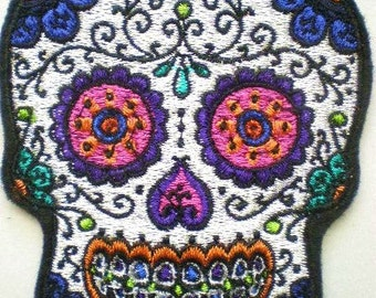 Embroidered Sugar Skull Applique, Patch, Day of the Dead, Gothic, Skull Patch, Iron On Patch
