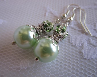 Mint Green Bridesmaid Earrings Mint Wedding Bridal Party Maid of Honor