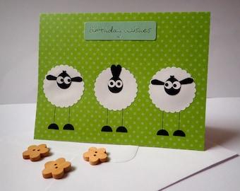 Birthday card - Handmade Greeting Card - Handmade Sheep Birthday Card - Birthday Cards - Sheep Greeting Card - Handmade Sheep Card