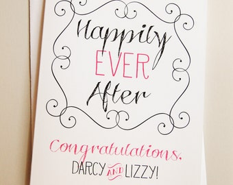 custom engagement card / congratulations / greeting card / blank card / note card