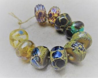 Handmade Lampwork Beads, Handmade Glass Beads, Metallic Pairs