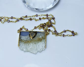 Amethsyt Druzy Slice Necklace