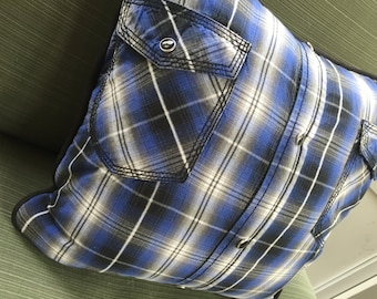Plaid Snap Shirt Pillow Cover