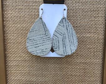 Silver Aztec Leather Earrings