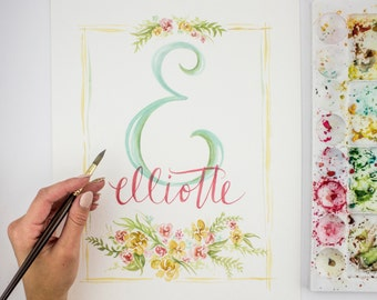 Custom Monogram Watercolor Painting - Calligraphy for Wedding Gift or Baby Nursery, Made to order