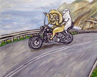 25% off The lion and the Lamb Riding a Motorcycle Animal Art Tile