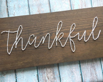 MADE TO ORDER String Art Script Thankful Single Line Strung Sign