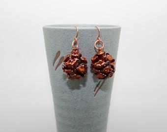 Iridescent Copper Redwood Cone Earrings