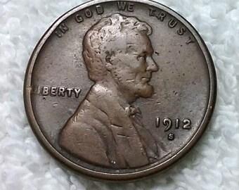 USA 1912-S San Francisco Mint Copper Lincoln wheat Cent Fine/VF condition.