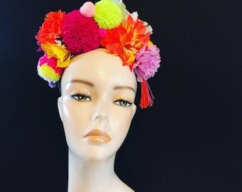 Pom Pom Tassle Floral Tropical Flower Crown Festival Head Dress Hair Band
