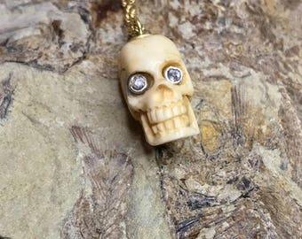 18k GOLD Memento Mori Bone Skull With Diamond Eyes on 14k Gold Chain, Georgian, Memento Mori, Skull, Victorian skull, skull Antique skull