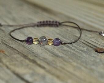 Fluorite, Citrine, Amethyst, Meditation Bracelet, Yoga Bracelet, Minimalist Bracelet Purple, Yellow, Hypoallergenic, Positivity