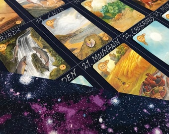 8x4+4 Lenormand and Tarot Reading Cloth, SPARKLY GALAXY, Grand Tableau Spread Cloth with houses