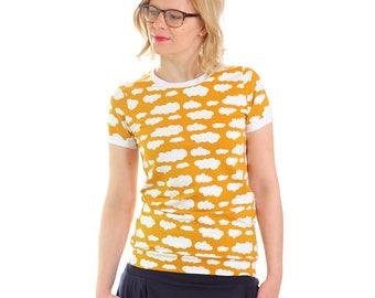 """Retro shirt """"Magda"""" Mustard yellow clouds"""