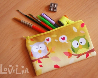 Yellow Pencil case / Cosmetic bag RainbOWLS
