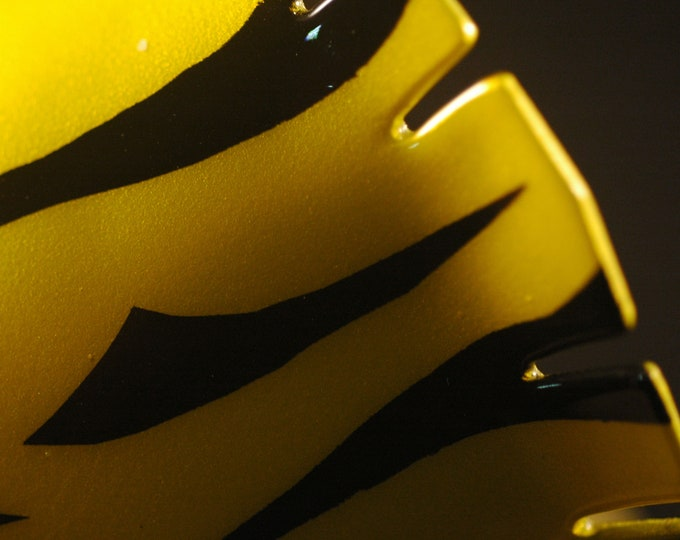 Painted Nu Gold Brass Cuff-Black and Yellow Bracelet Handmade and Forged Flared Extreme and Bold Created by Michael Ferreira on Etsy