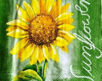 TOWEL in paper sunflower on green #F087