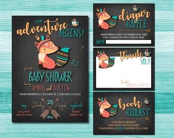 Adventure Boy Baby Shower Invitation | Fox Baby Shower Invitation | Woodland Baby Shower Invitation | Tribal Baby Shower Invitation