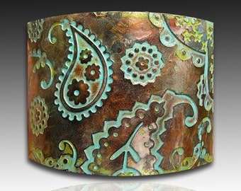 Perfectly paisley copper and patina polymer clay cuff bracelet