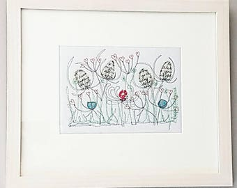 Framed original Free hand machine embroidery Pictures