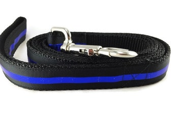 Dog Leash, Thin Blue Line, Police, 1 inch wide, 1 foot, 4 foot, or 6 foot