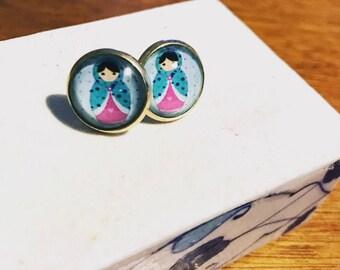 Matryoshka earrings , handmade earrings , stud earrings