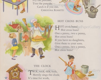 DOWNLOAD-NURSERY RHYME Pancake Hot Cross Buns The Clock Mother Goose Nursery Childrens Room Day Care Center Decor Childrens Illustrations