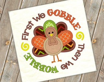 Turkey Boy Gobble Wobble Embroidery Saying Thanksgiving Design Fall Embroidery Turkey Applique Embroidery Design Petunia Petals Designs 1168