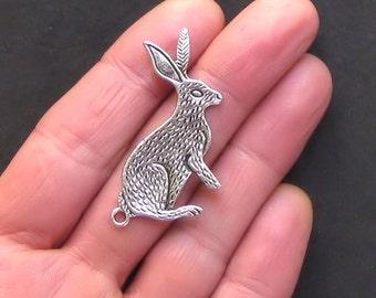4 Extra Large Rabbit Charms Antique  Silver Tone - SC785