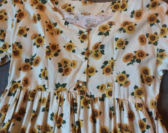 Sunflower dress, vintage, handmade