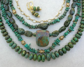 VERSATILE 5-in-1, Quality Green Turquoise- 5 Detachable Strands, Kingman Mine Turquoise Focal Bead,Multi-Srand,Wear Many Ways, SandraDesigns
