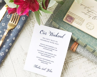 Wedding Agenda Card, Printable Wedding Timeline Letter, Events Card, Romantic Script, Itinerary, Agenda, Hotel Card - INSTANT DOWNLOAD