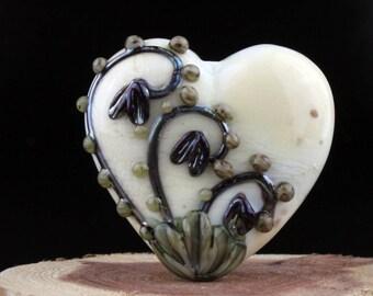 Lampwork Glass Heart Focal Ivory Metallic Black Floral