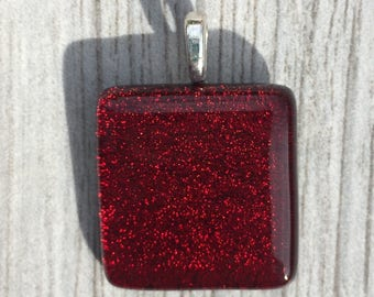 Dichroic Fused Glass Pendant - Red Dichroic Pendant
