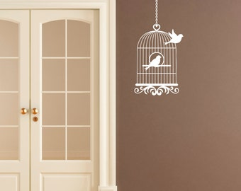 Vintage Bird Cage Wall Sticker - Bird Flying From Cage Wall Art