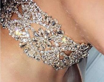Choker-Rhinestone Choker-Bridal Jewelry-Crystal Choker-Silver Choker-Bride Necklace