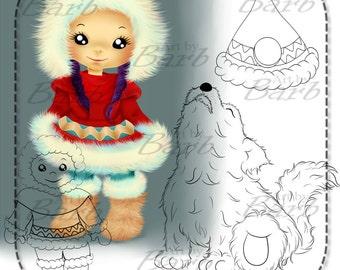 Eskimo line art for you to colour