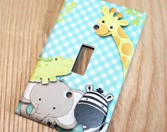 A to Z Jungle Animal Single Light Switch Cover Boys Bedroom Single Light Switch Cover LS0063