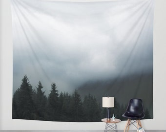 wall tapestry. gothic tapestry, large size wall art, nature decor, lake, forest, dark, mist, black, deep blue, gray grey