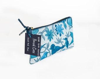 Pencil Case, Toiletry Bag, Hand block printed - wash bag, makeup bag, toiletry bag, cosmetic bag