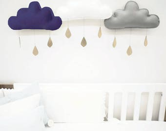Navy blue cloud, wall decor, Grey cloud, nursery decor, nursery, baby boy gift, kids room decor, baby mobile, newborn boy, shabby chic decor