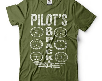 Pilot T-shirt Funny Pilot Flight Instructor Tee shirt Pilots 6 Pack Tee shirt