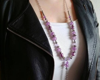 Mult. Colors Long Necklace Fashion Sets; Necklace and Earrings; Red, Green, Blue, Black, White, Purple